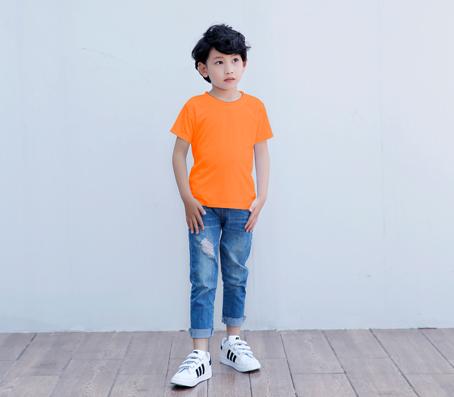 纯橙色短袖精棉