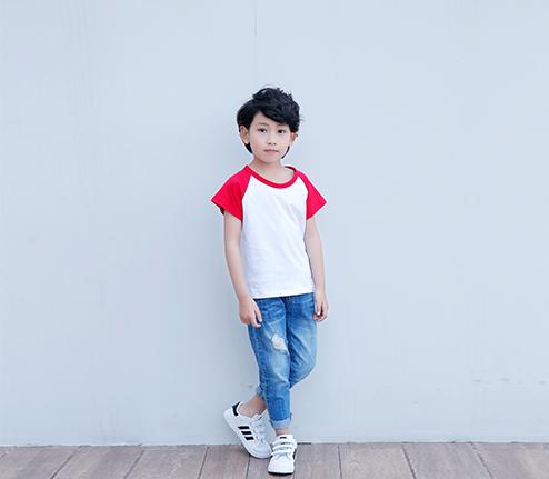 童装红色精棉插肩袖