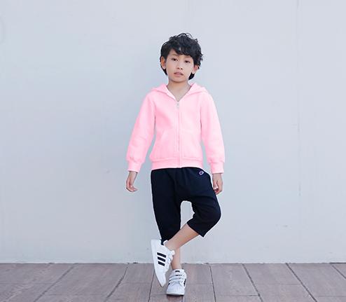 粉色加绒加厚精棉拉链卫衣