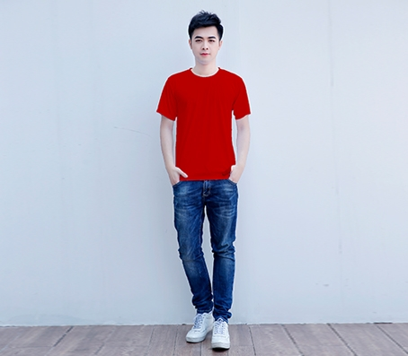 纯红色短袖精棉