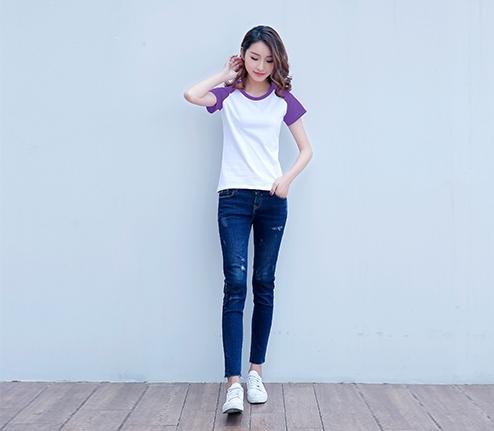 紫色精棉插肩袖