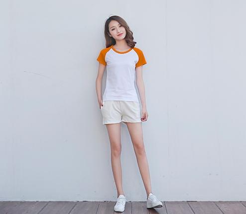 橘色精棉插肩袖