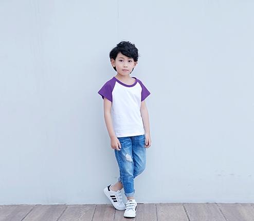 童装紫色精棉插肩袖