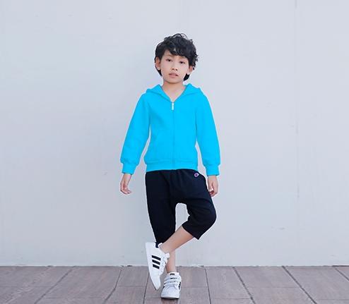童装蓝色加绒加厚精棉拉链卫衣