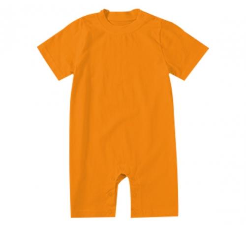 纯橘色精棉哈衣