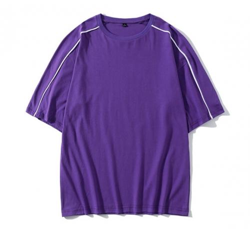 圆纯棉落肩中袖t恤--B款